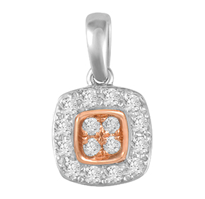 Cushion Pink & White Diamond Pendant