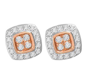 Cushion Pink & White Diamond Earrings