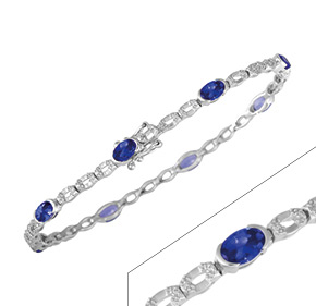 Oval Tanzanite & Diamond Bracelet