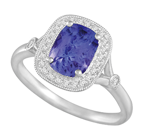 Claw Set Cushion Tanzanite with Micro Pave and Milgrain Ring