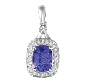 Claw Set Cushion Tanzanite with Micro Pave and Milgrain Pendant