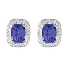 Claw Set Cushion Tanzanite with Micro Pave and Milgrain Earring