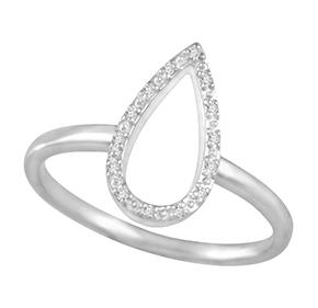 Grain Set Open Pear Shape Diamond Ring