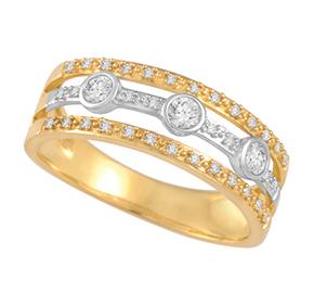Triple Row Dress Ring with Bezel