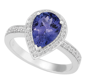 Pear Shape Tanzanite and Diamond Ring with Milgrain RTZ115