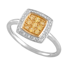 Cushion Yellow Sapphire & Diamond Ring