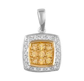 Cushion Yellow Sapphire & Diamond Pendant