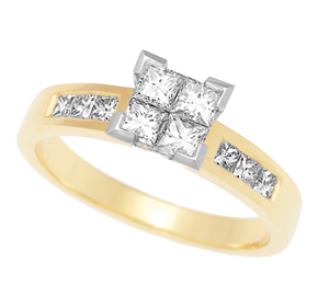 Invisible Set Princess and Channel Set Ring