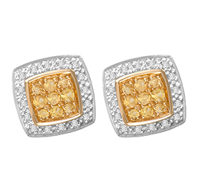 Cushion Yellow Sapphire & Diamond Earring