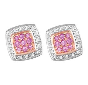 Cushion Pink Sapphire & Diamond Earring