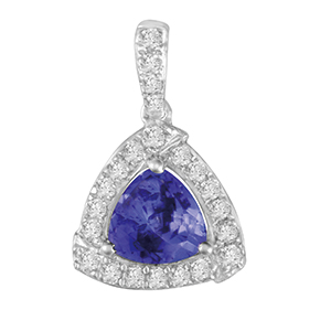 Trilliant Tanzanite with Micro Pave Diamond Pendant