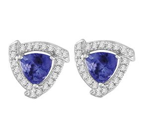 Trilliant Tanzanite with Micro Pave Diamond Earings