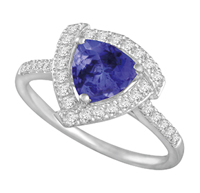 Trilliant Tanzanite with Micro Pave Diamond Ring