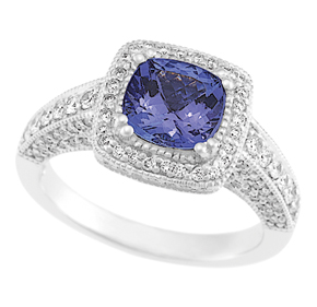 Cushion Cut Tanzanite and RBC Diamond Milgrain Ring RTZ01