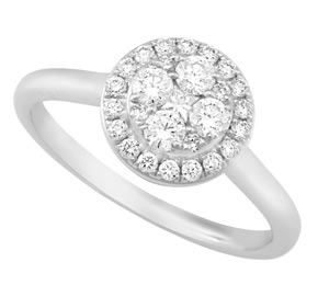 Micro Set Round Cluster Diamond Ring