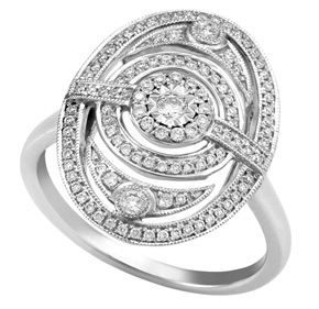 Oval Shape Art Deco Style Ring with Milgrain