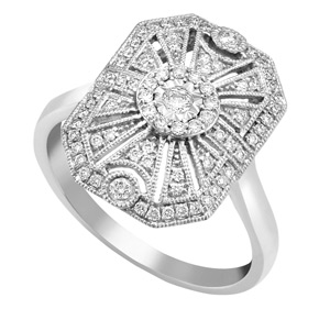 Radiant Shape Art Deco Style Ring with Milgrain