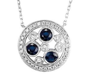 Floating Sapphire & Diamond Milgrain Pendant