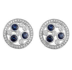 Floating Sapphire & Diamond Milgrain Earrings