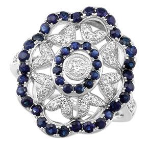 Blue Sapphire & Diamond Milgrain Set