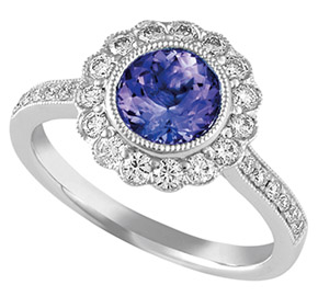 Round Flower Tanzanite & Diamond Milgrain Ring