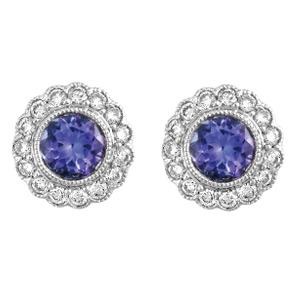 Round Flower Tanzanite & Diamond Milgrain Earrings
