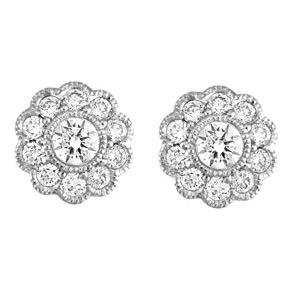 Flower Diamond Milgrain Earrings
