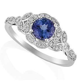Round Tanzanite with Leaf Halo
