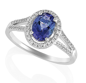 Oval Tanzanite Ring with Split Shank & Micro Pave Shoulders