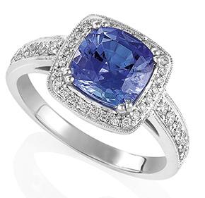 Cushion Cut Tanzanite and RBC Diamond Set Ring