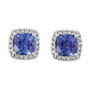 Cushion Cut Tanzanite and RBC Diamond Set Earrings