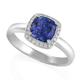 Cushion Cut Tanzanite with RBC Halo Set Ring