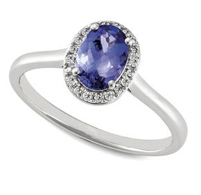 Oval Tanzanite & RBC Diamond Set Ring