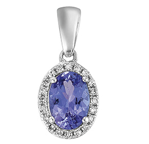 Oval Tanzanite & RBC Diamond Set Pendant