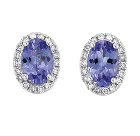 Oval Tanzanite & RBC Diamond Set Earrings