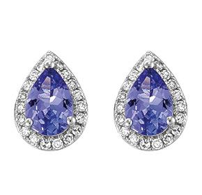 Pear Tanzanite & RBC Diamond Set Earrings