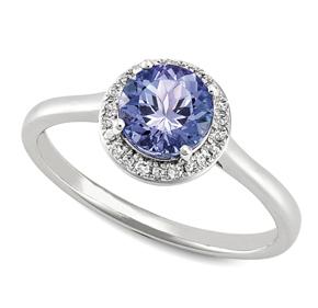 Round Tanzanite & RBC Diamond Set Ring