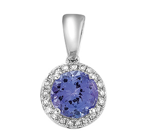 Round Tanzanite & RBC Diamond Set Pendant