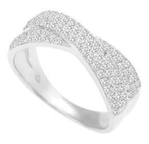 Micro Pave Set Cross Over Ring
