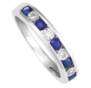 Sapphire and Diamond Channel Set Wedder