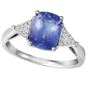 Cushion Tanzanite and Trilliant Illusion Shoulders Ring
