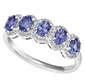 5 x Oval Tanzanite and Diamond Ring