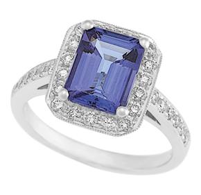 Emerald Cut Tanzanite and RBC Diamond Milgrain Ring RTZ08