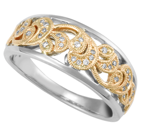 Two Tone Paisley Dress Ring