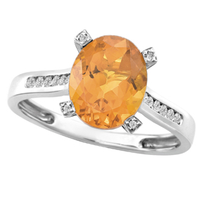 Oval Madeira Citrine & Diamond Ring