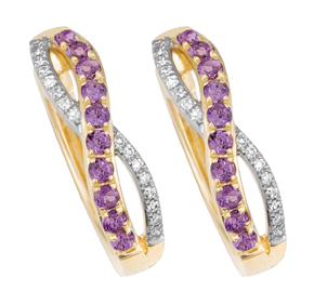 Amethyst Cross Over Pave Huggies