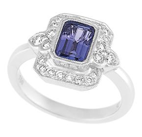 Emerald Cut Tanzanite and RBC Diamond Milgrain Ring RTZ10