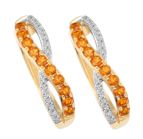 Madeira Citrine Cross Over Pave Huggies