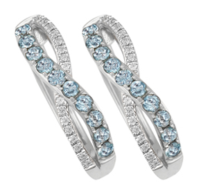 Blue Topaz Cross Over Pave Huggies