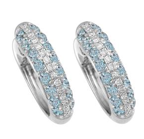 Blue Topaz & Diamond Huggies
